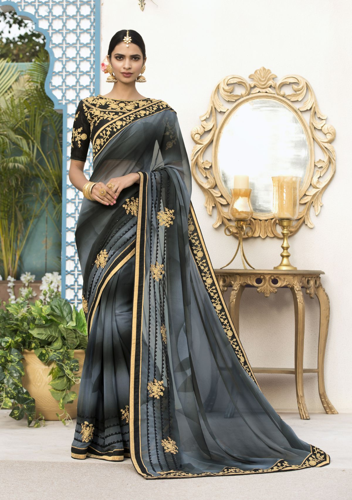 Embroidered Georgette Saree in Gray
