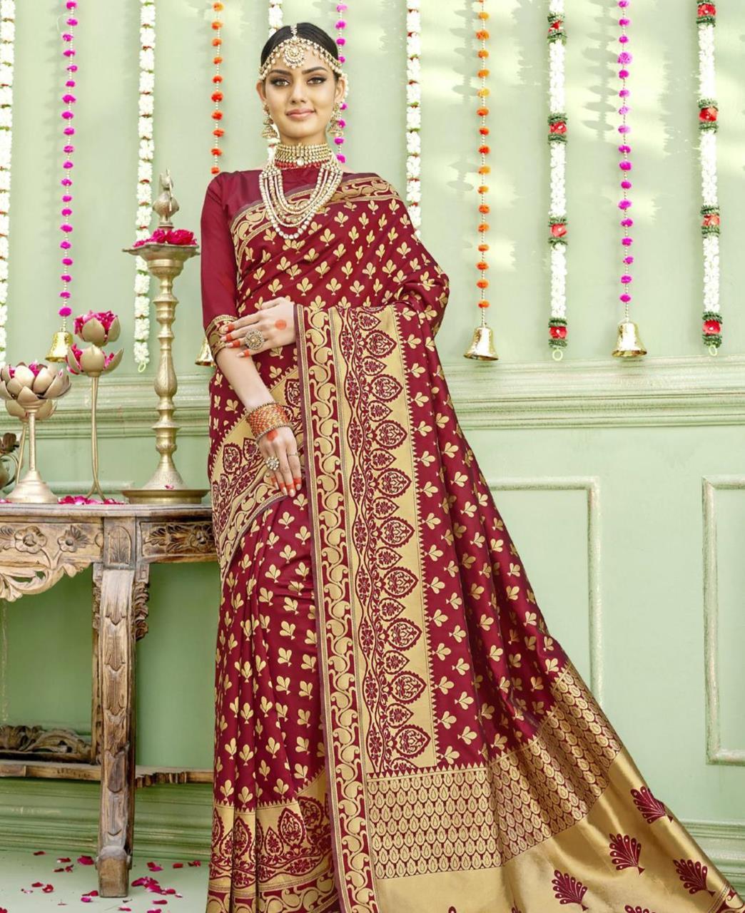 Woven Silk Saree (Sari) in Maroon
