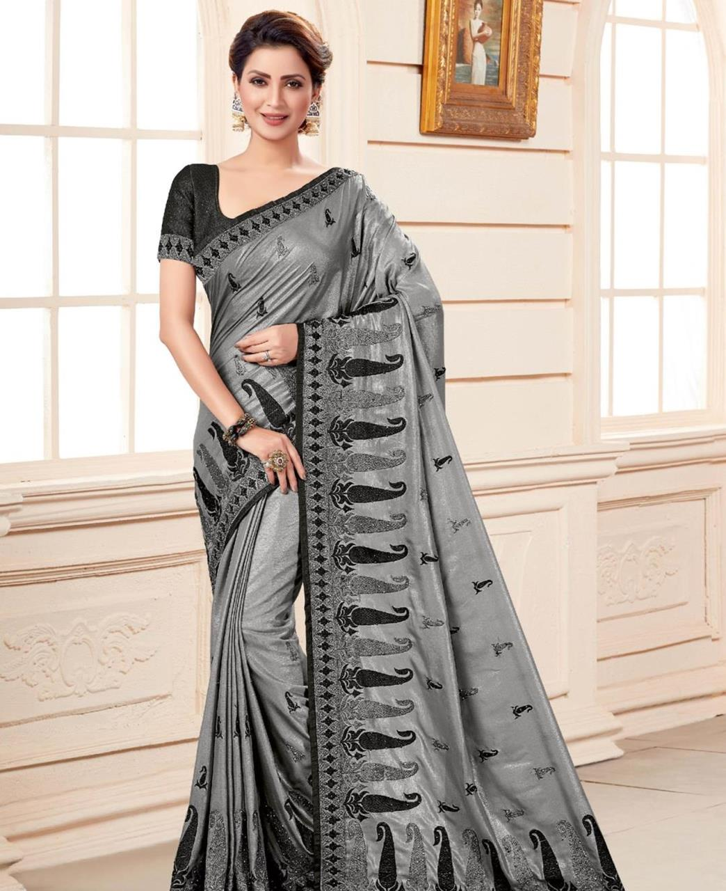 Embroidered Silk Saree in Gray