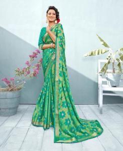 Lace Chiffon Saree in Green