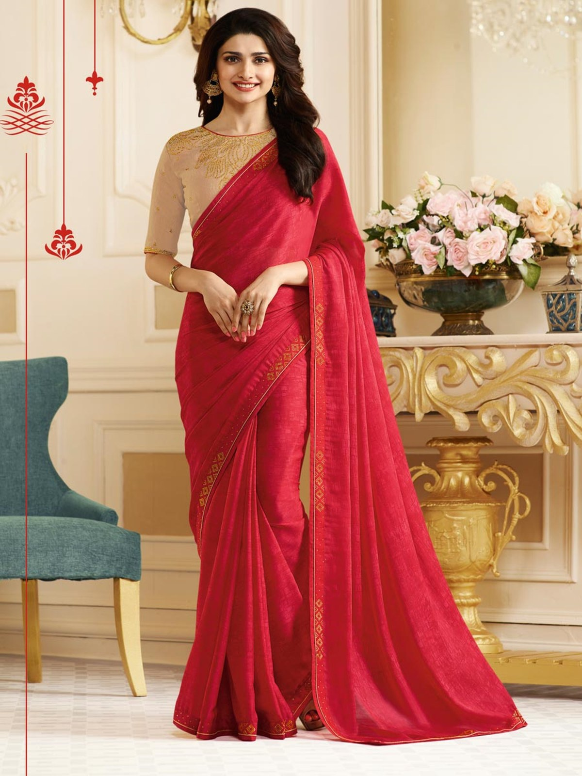 Embroidered Georgette Saree (Sari) in Pink