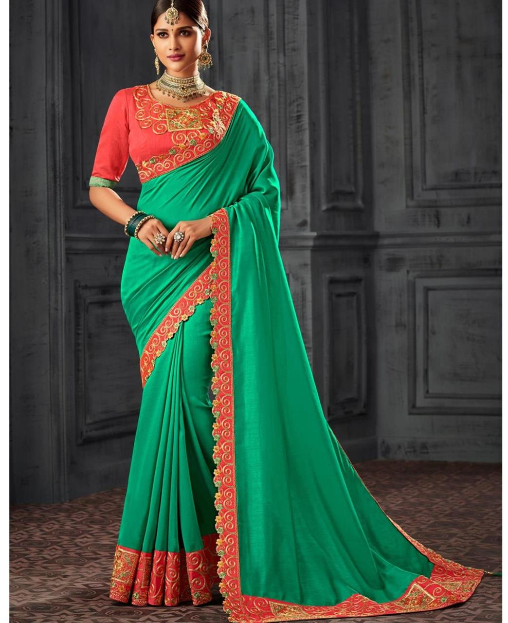 Embroidered Silk Saree (Sari) Turquoise