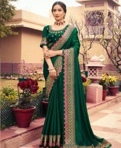 Resham Georgette Saree in Dark Green