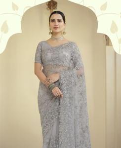 Resham Chiffon Saree in Grey