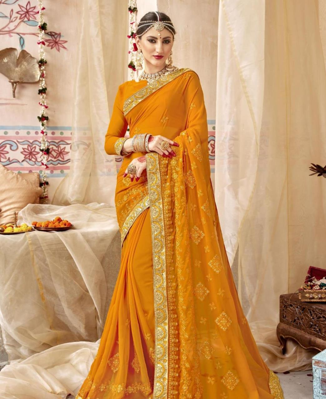 Stone Work Georgette Saree in Musterd