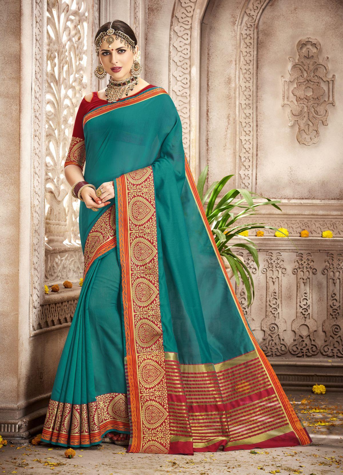 Woven Silk Saree in Green