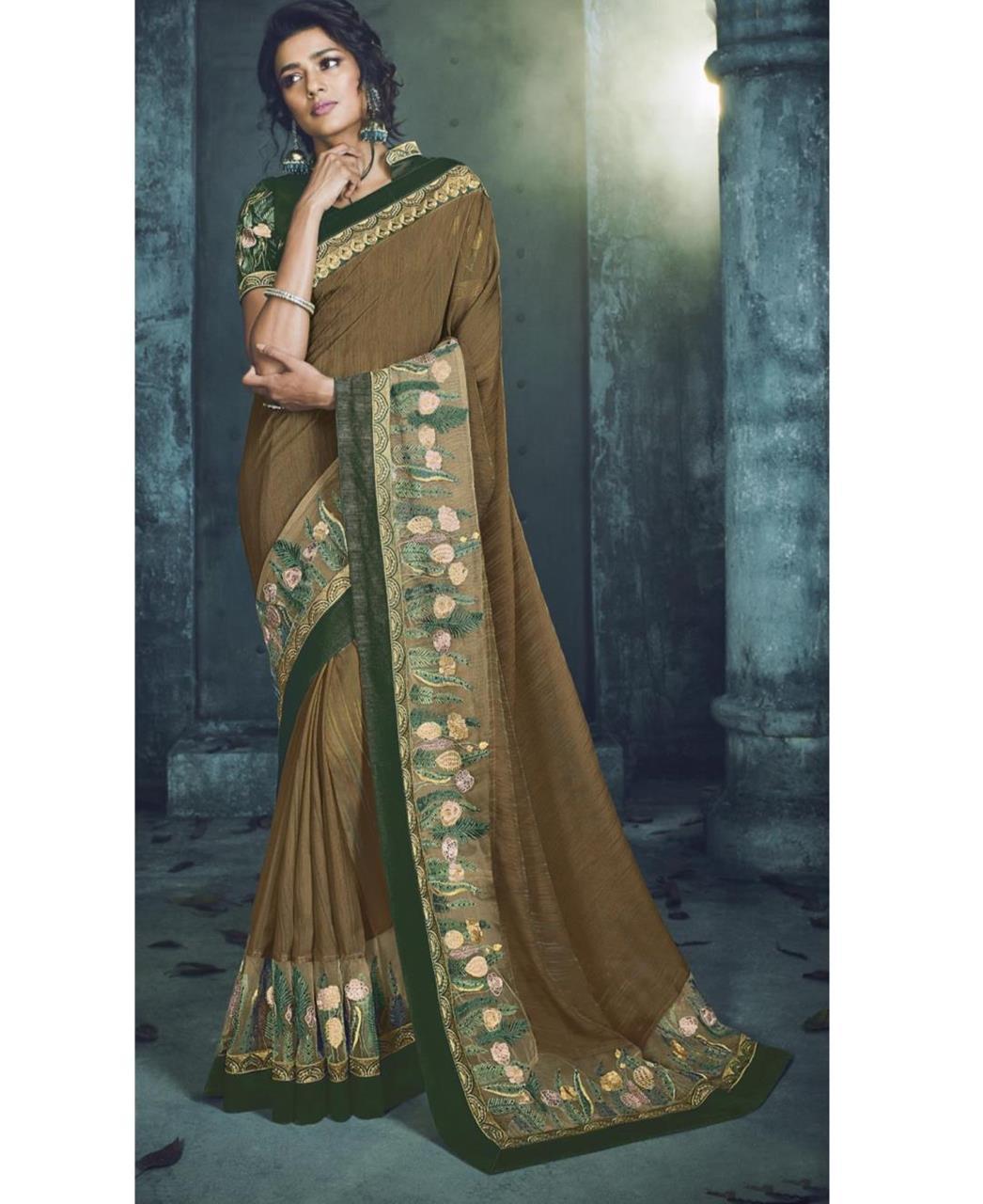 Plain Silk Saree (Sari) in Green