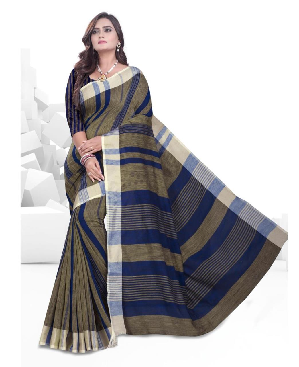 Printed Cotton Saree (Sari) in Blue