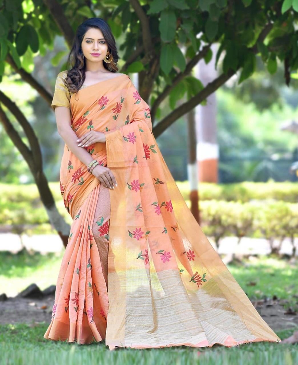 Zari Banarasi Silk Saree (Sari) in PeachPuff
