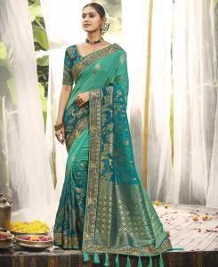 Embroidered Silk Saree in Sea Green
