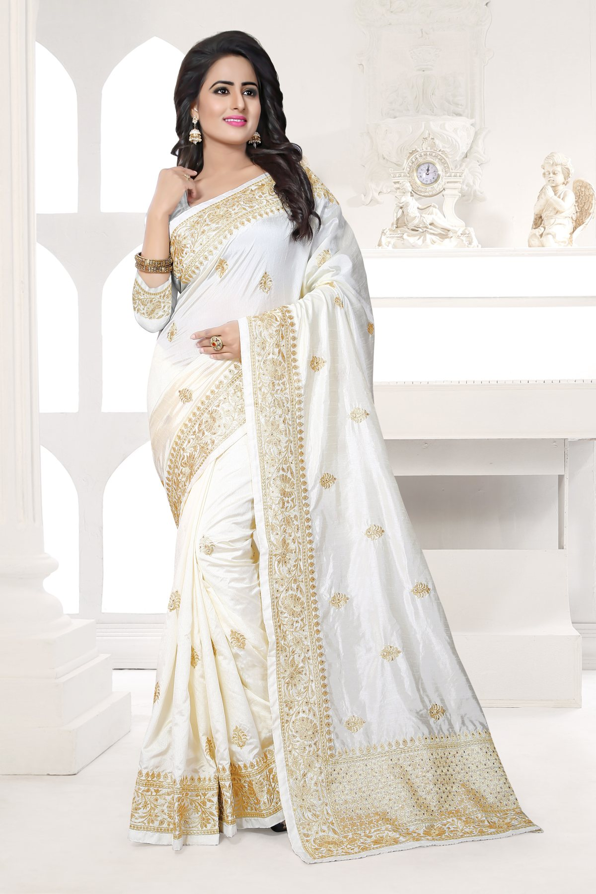 Embroidered Art Silk Saree (Sari) in White