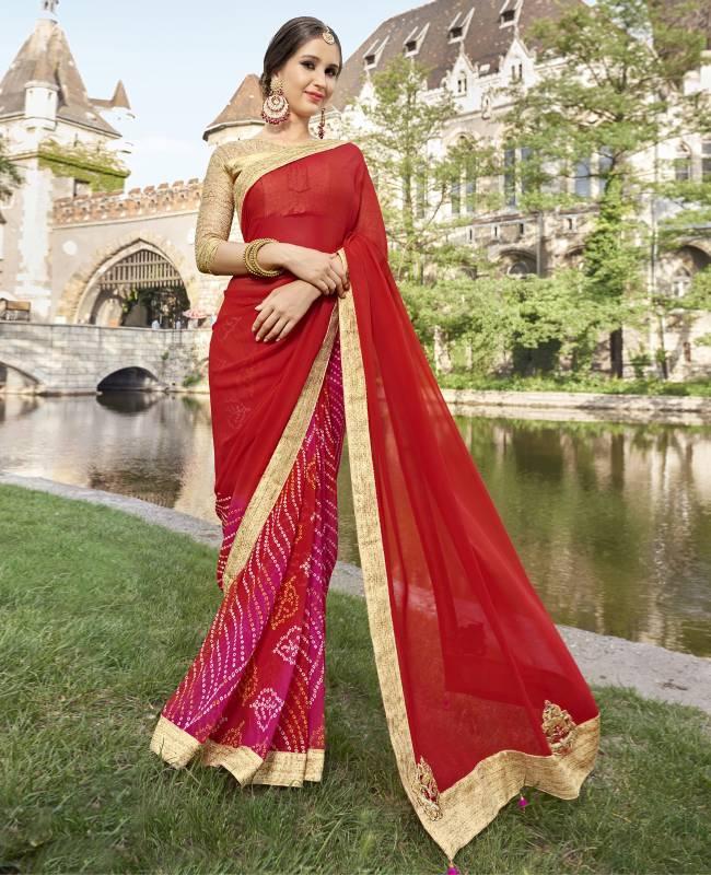 Bandhej Printed Faux Georgette Saree (Sari) in Red