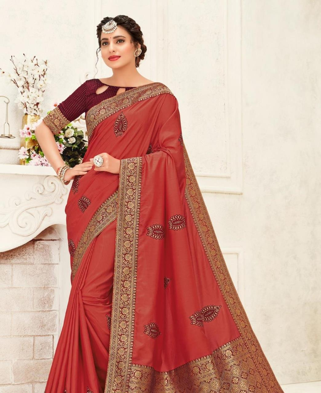 Stone Work Silk Saree in Maroon