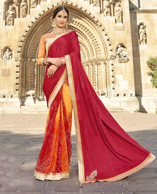 Bandhej Printed Faux Georgette Saree (Sari) in Pink