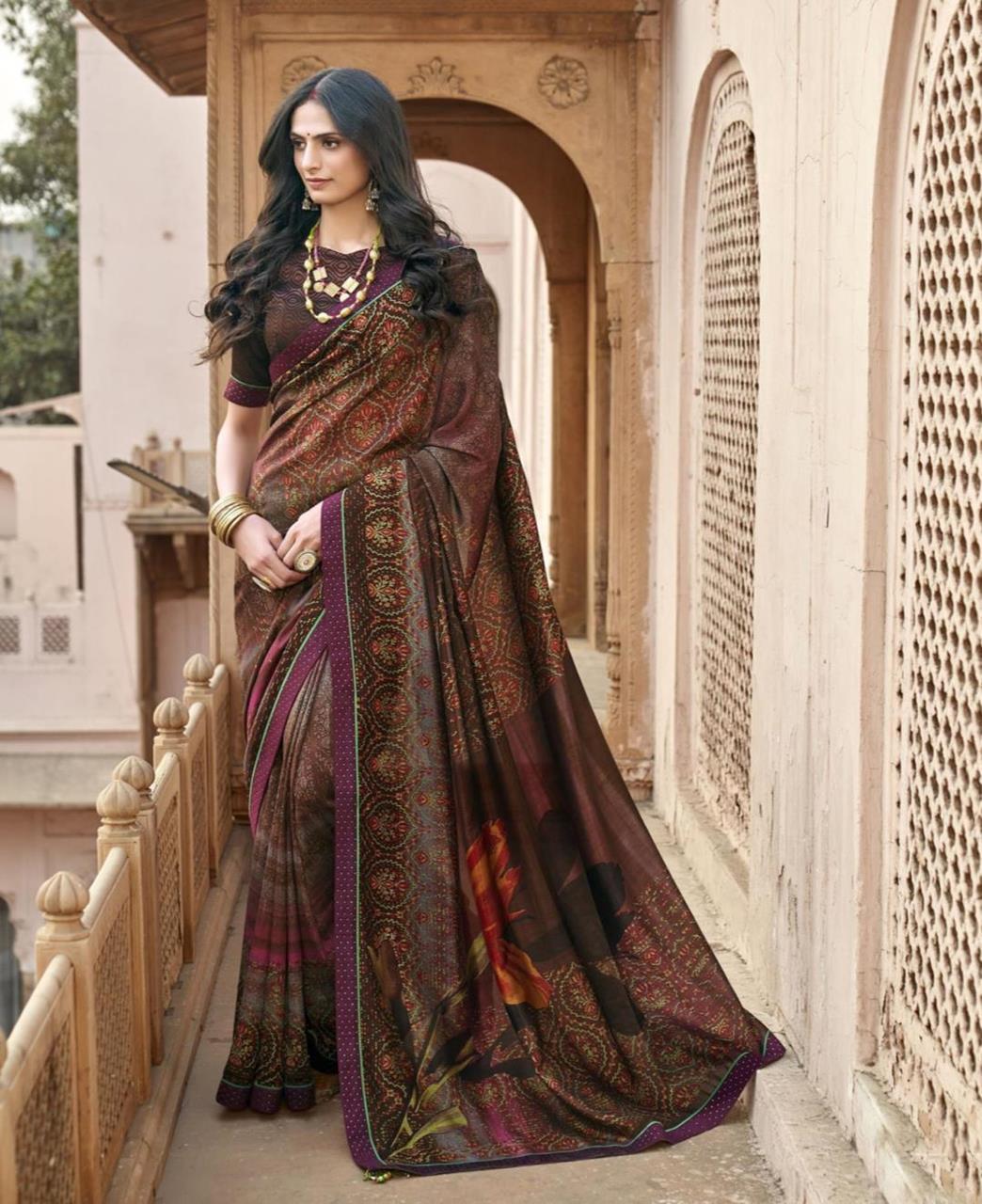 HandWorked Silk Saree in Brown