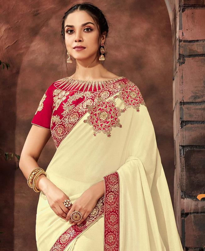 Cord Work Georgette Saree (Sari) in Offwhite