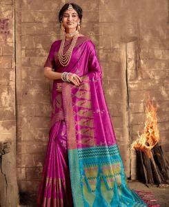 Printed Silk Saree in Rani Pink