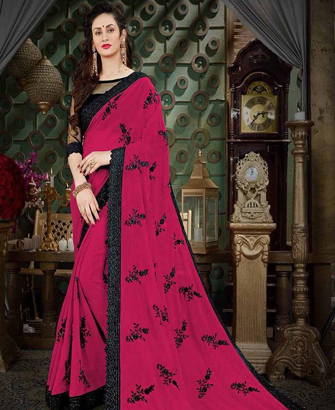 Embroidered Georgette Saree (Sari) in Purple