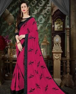 Embroidered Georgette Saree (Sari) in Purple