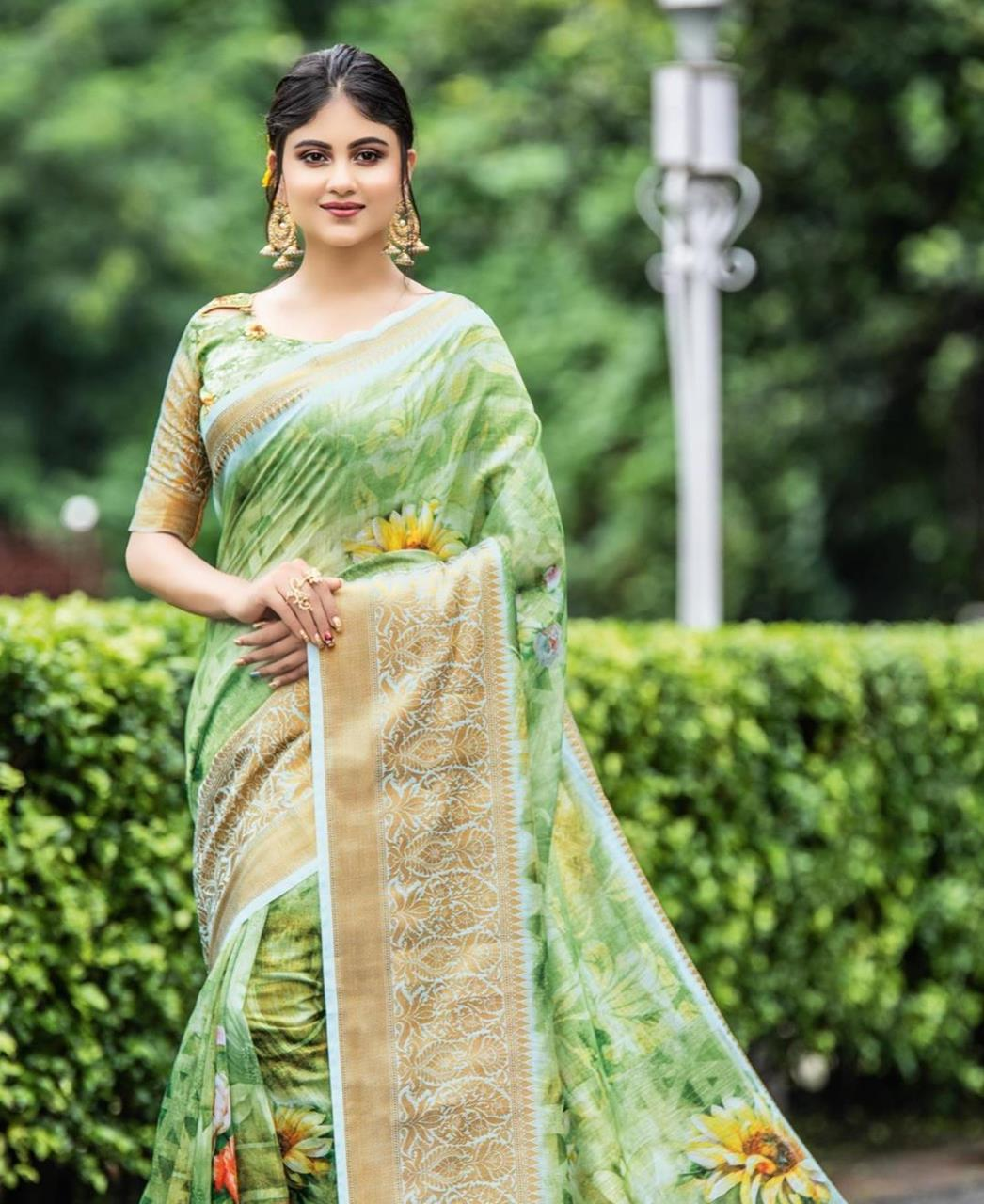 Printed Cotton Saree in Light Green