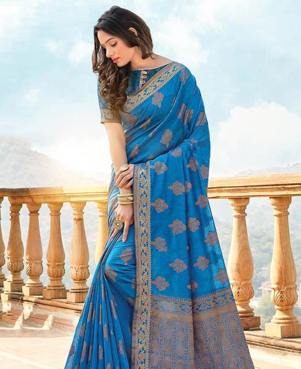 HandWorked Cotton Saree in Blue