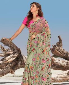 HandWorked Silk Saree in Pista
