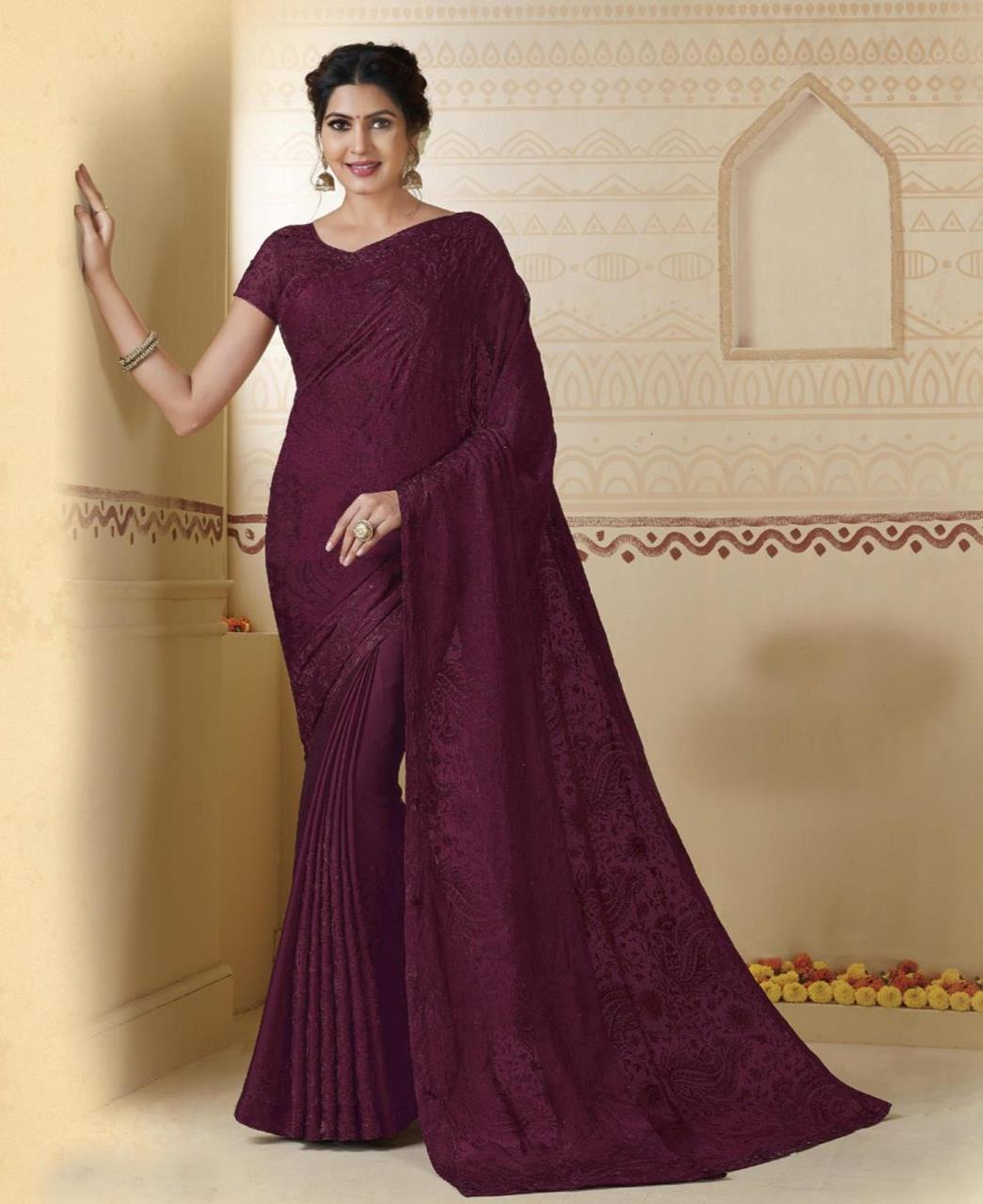 Embroidered Chiffon Saree in Wine