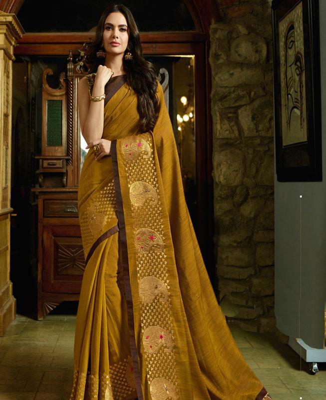 Zari Silk Saree in Yellow
