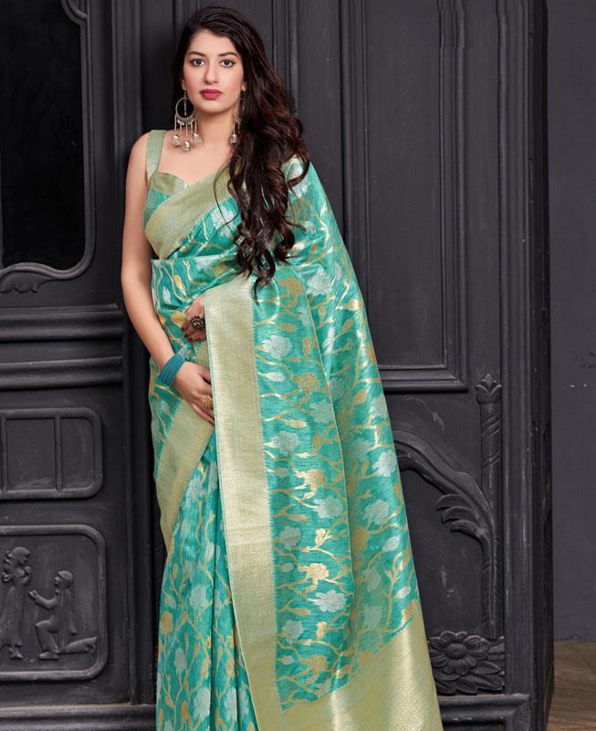 Woven Banarasi Silk Saree in SKYBLUE