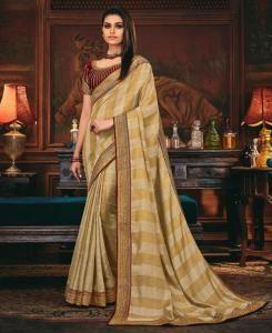 Lace Silk Saree in Beige