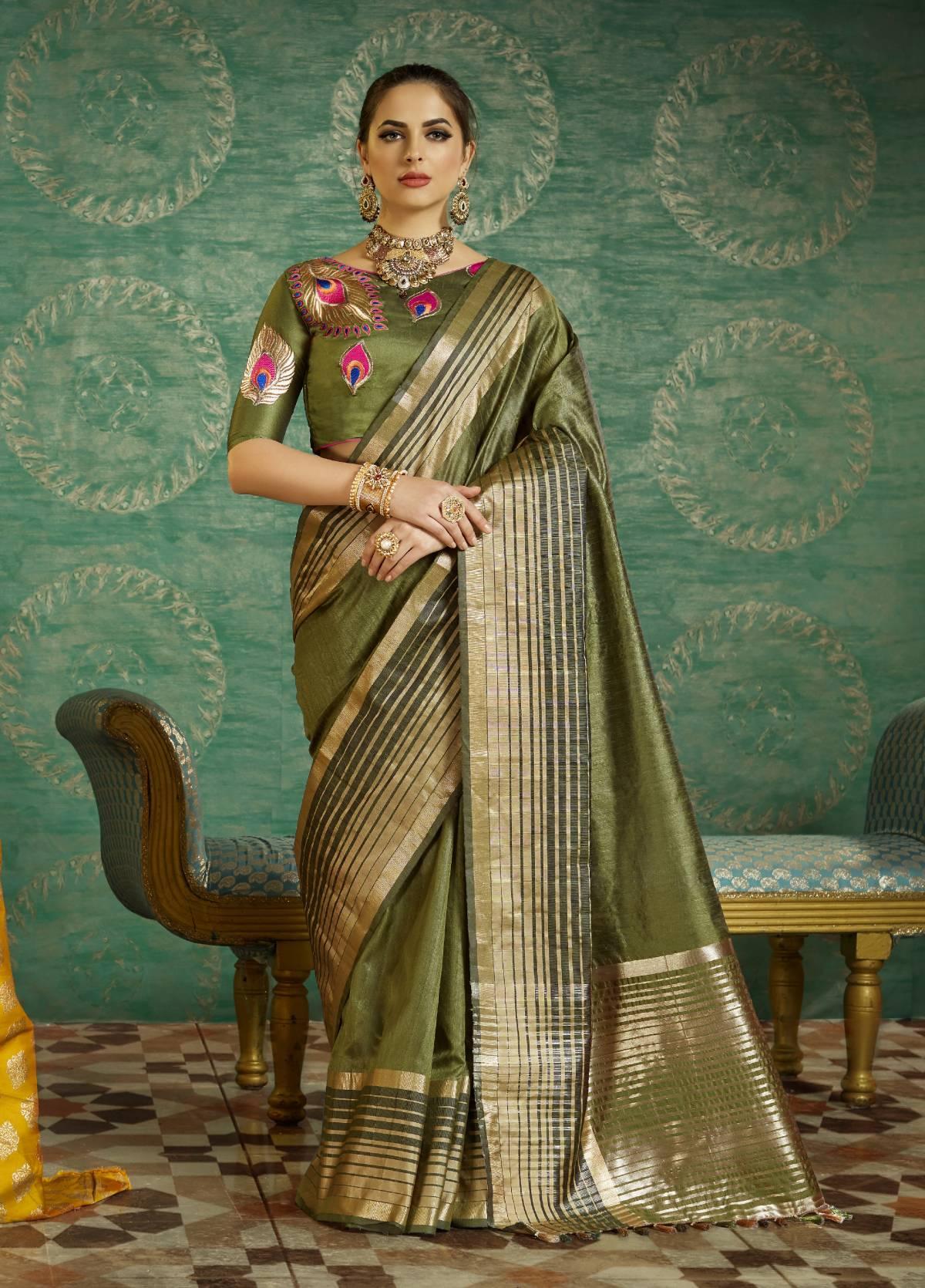Thread Art Silk Saree in OLIVE