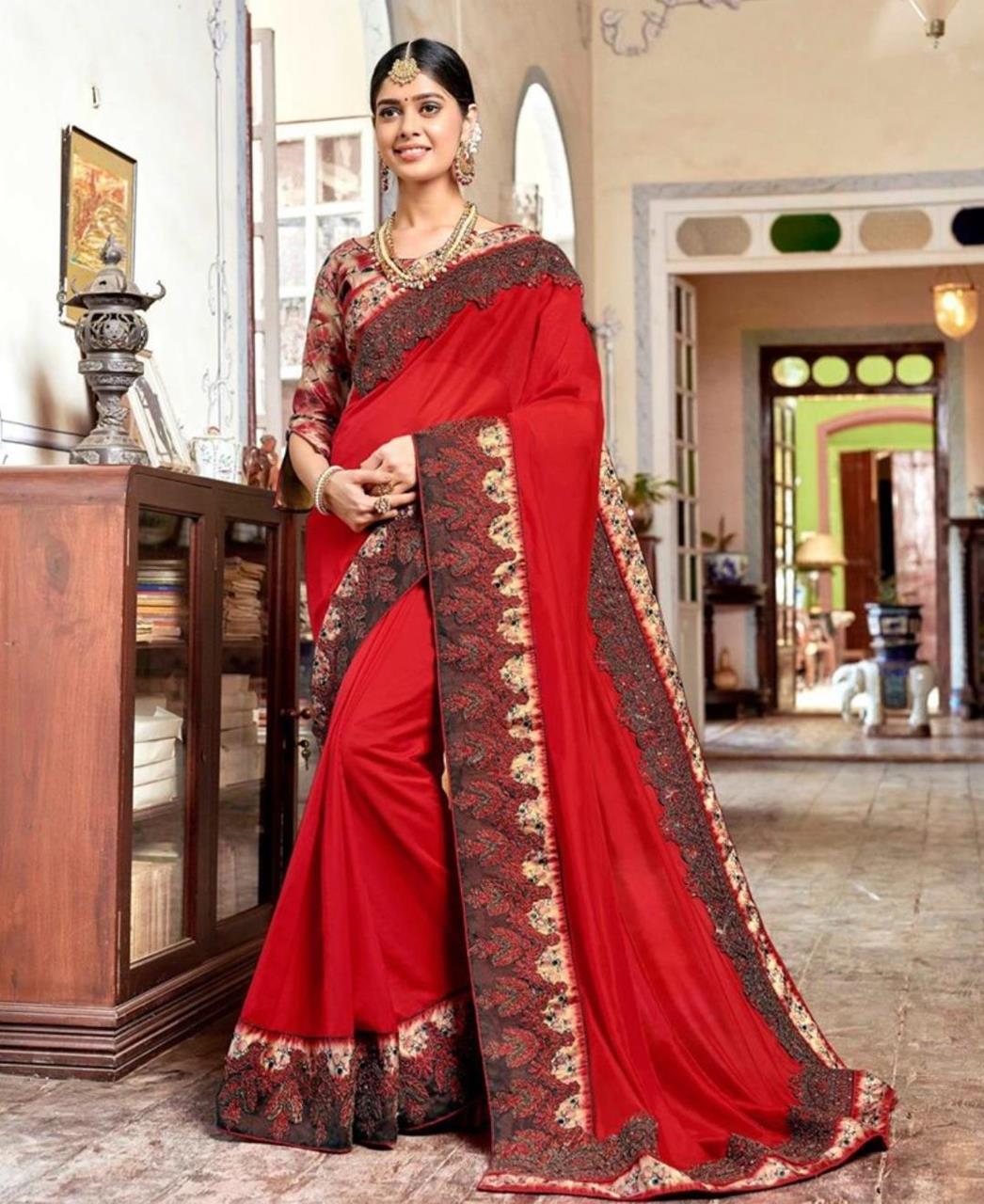 Border Work Georgette Saree (Sari) in Red