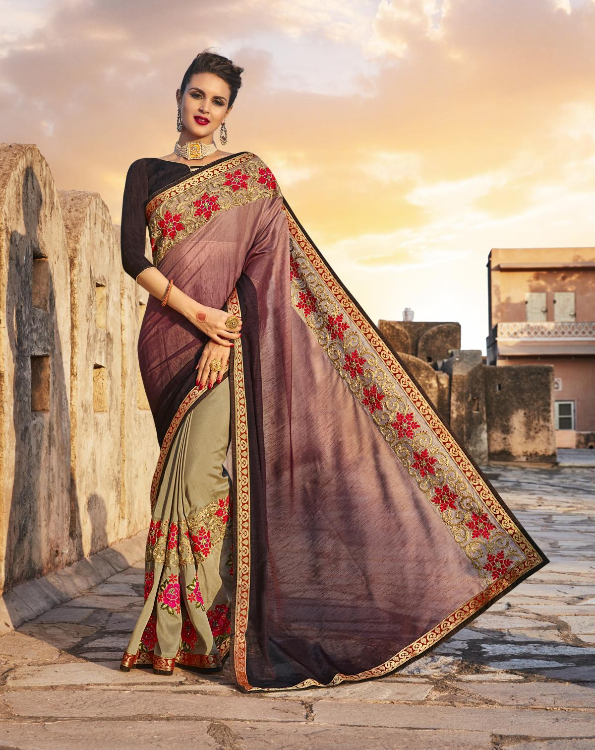 Embroidered Art Silk Saree (Sari) in Beige