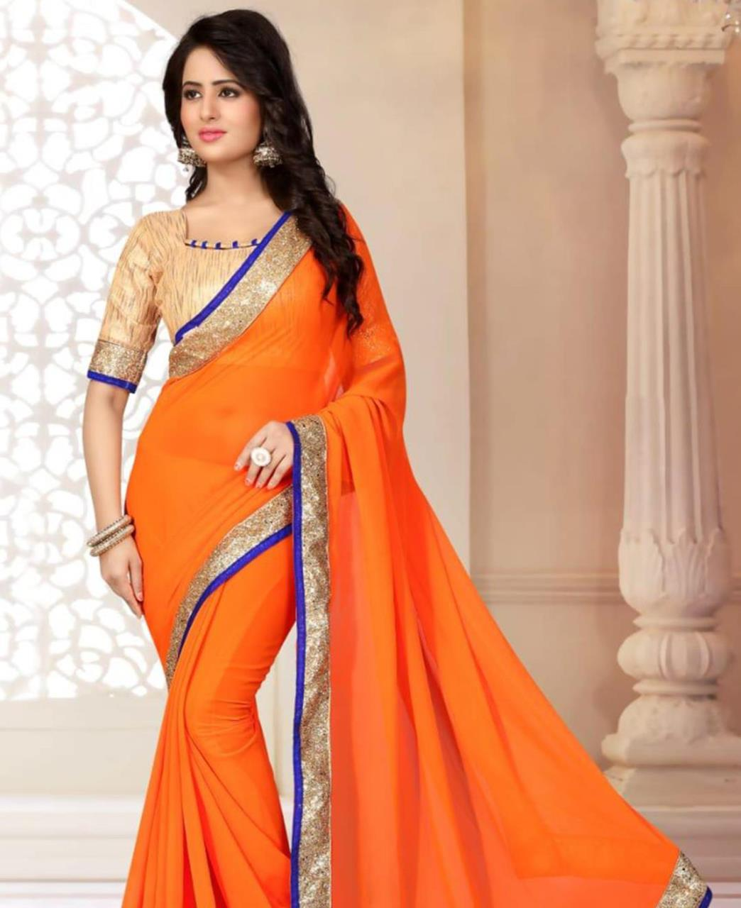 Lace Georgette Saree (Sari) in Orange
