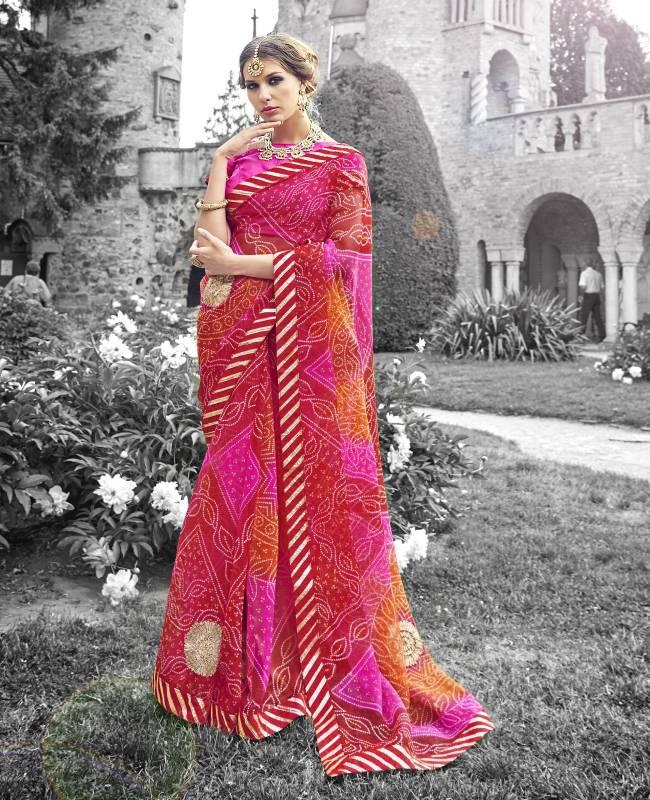 Bandhej Printed Supernet Saree (Sari) in Red