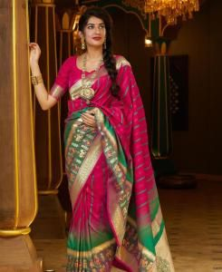Silk Saree in Rani Pink