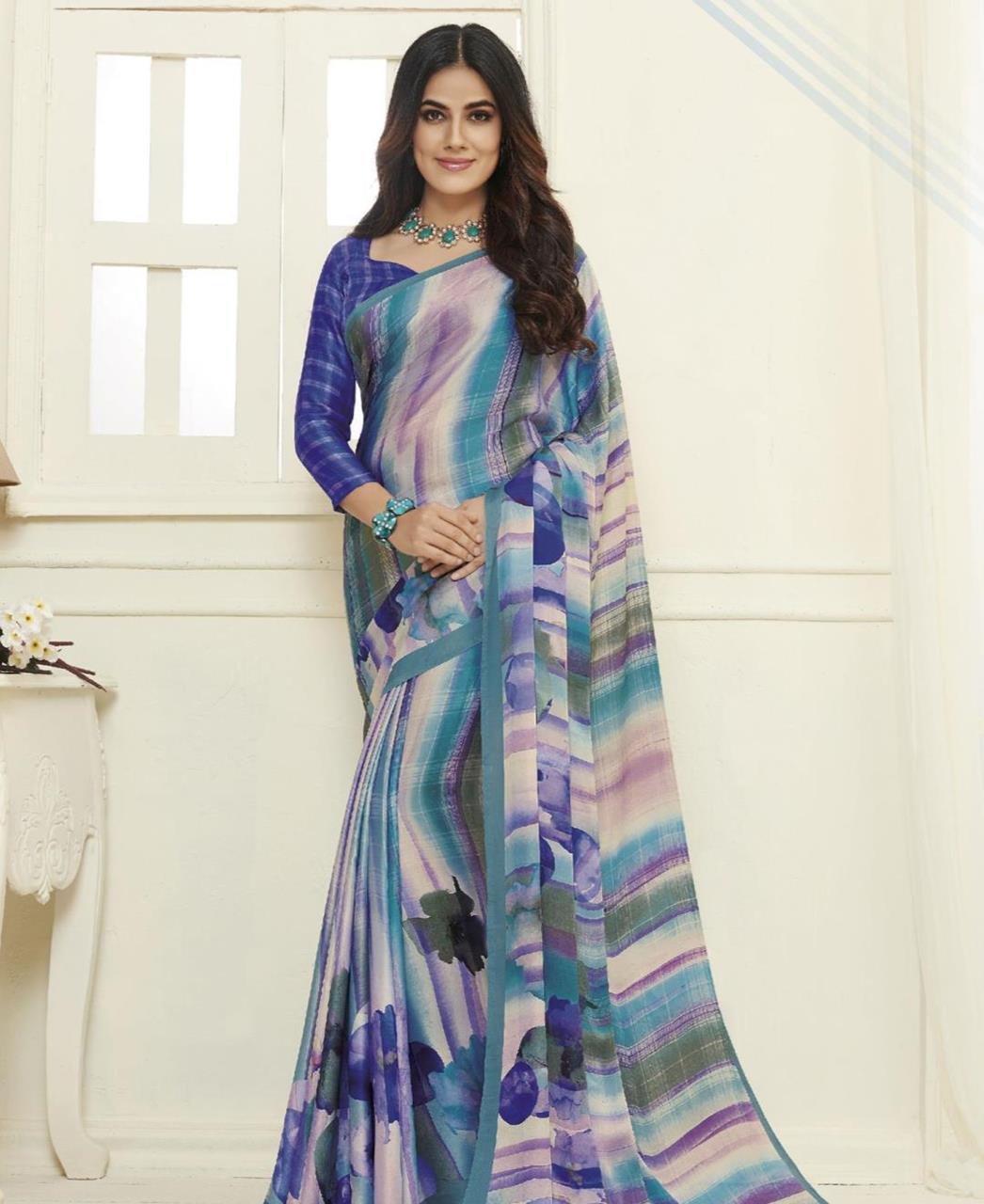 Printed Satin Saree in Blue
