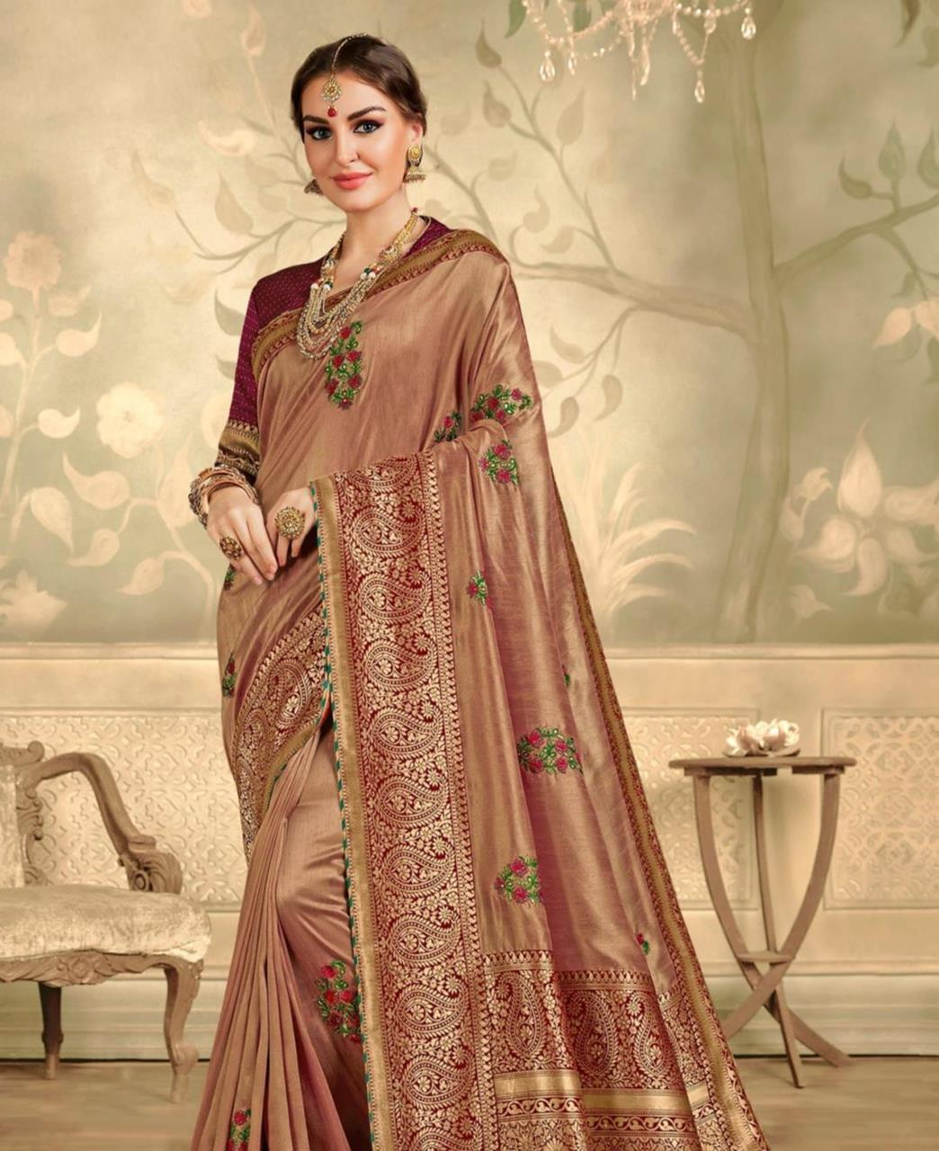 Stone Work Silk Saree in Brown