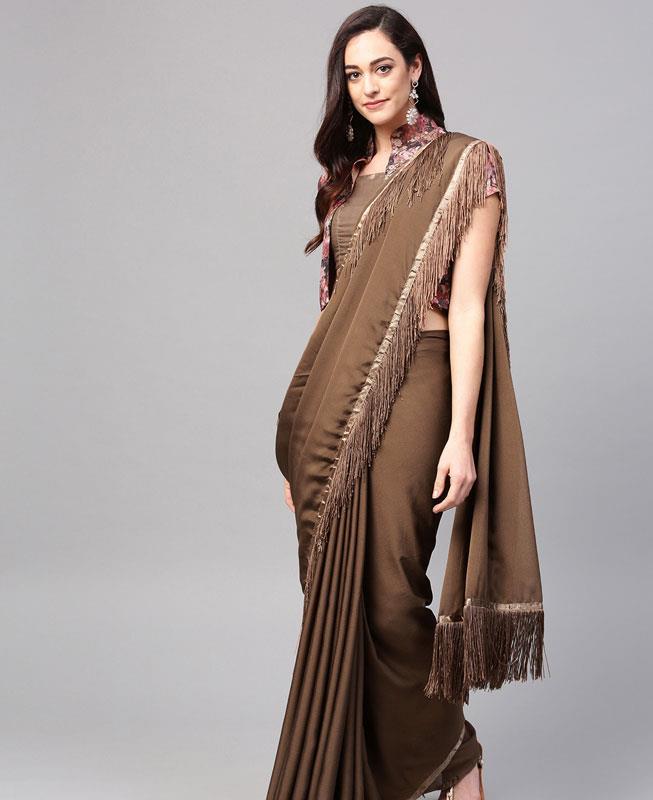 Silk Saree in Brown