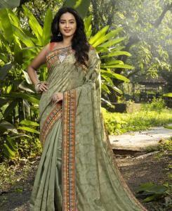 HandWorked Silk Saree in Khaki