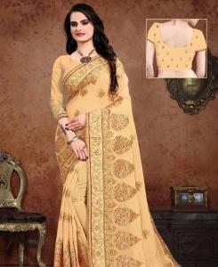 Resham Georgette Saree in Yellow