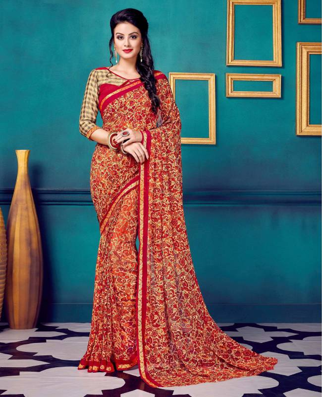 Printed Faux Georgette Saree (Sari) in Red