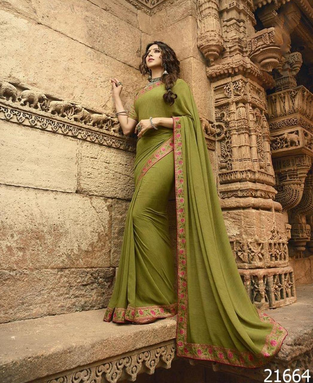 Printed Georgette Saree in Mahendi