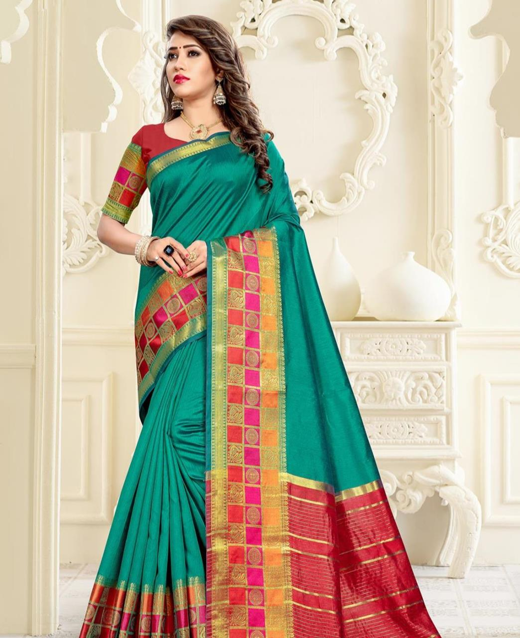 Cotton Saree in Teal Green