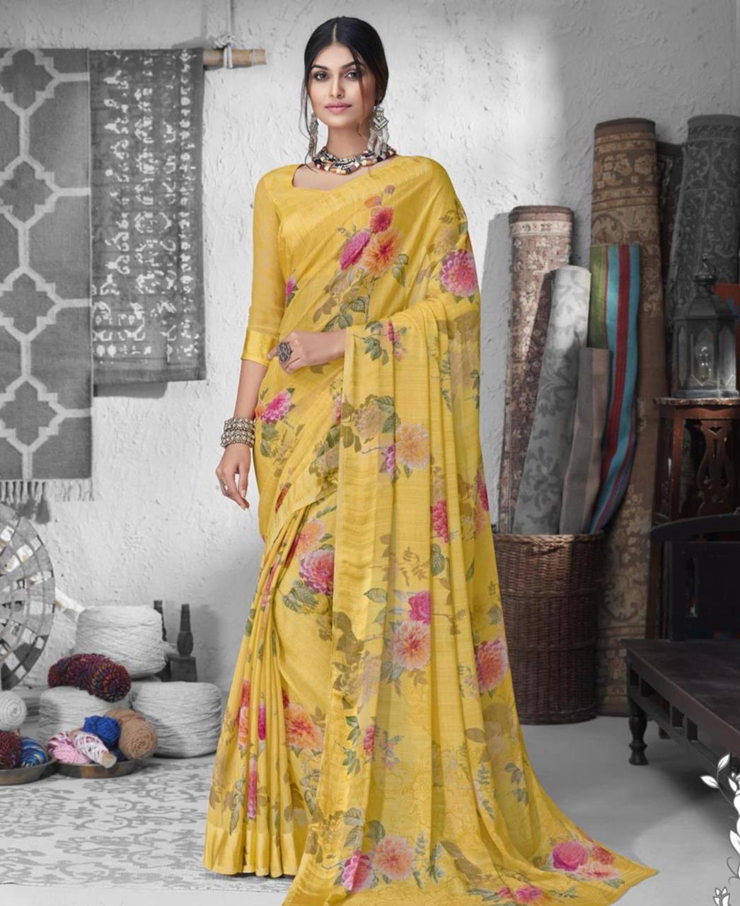 Printed Chiffon Saree in Yellow