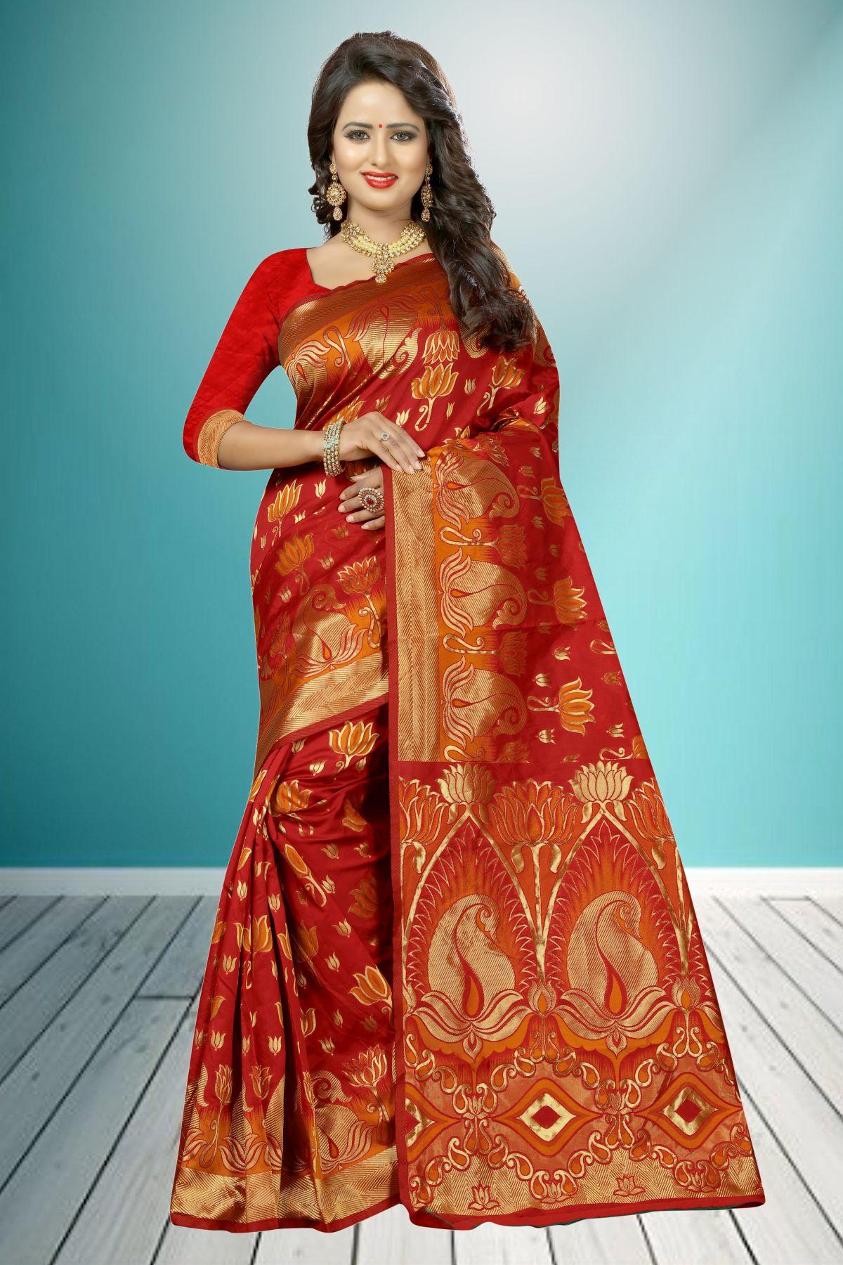 Jacquard Art Silk Saree in Red