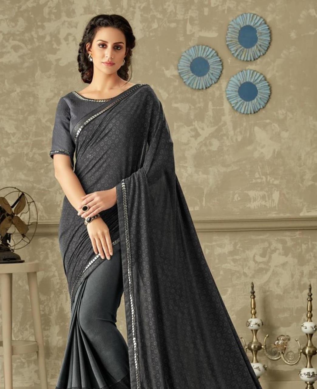Floral Print Lycra Saree (Sari) in Black