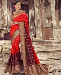Woven Silk Saree in Red
