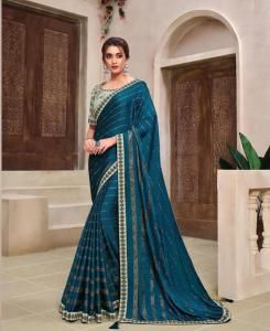 Lace Chiffon Saree in Blue