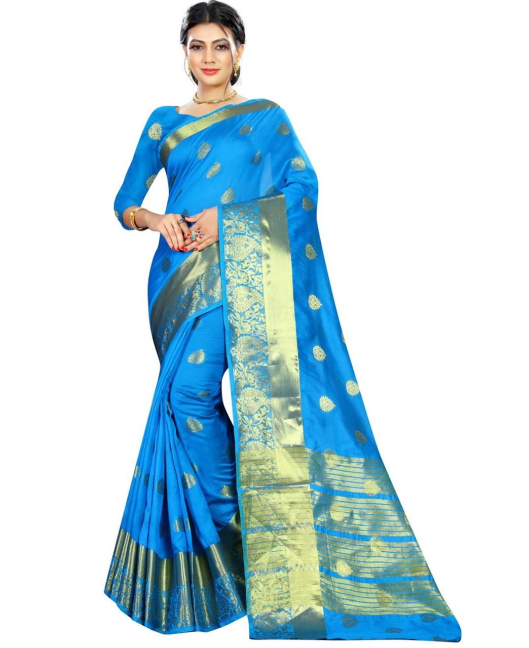 9abc2ff6a3 Woven Cotton Saree (Sari) in SKYBLUE